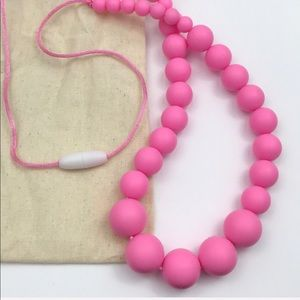 Baby Teething Pink Rubber Beaded Necklace